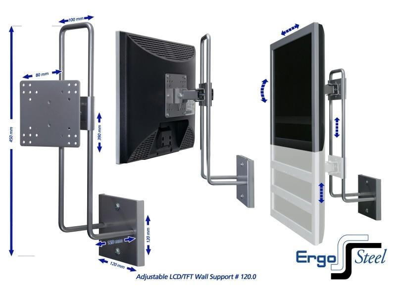 r go steel up down monitor wandhalterung rgosc120. Black Bedroom Furniture Sets. Home Design Ideas