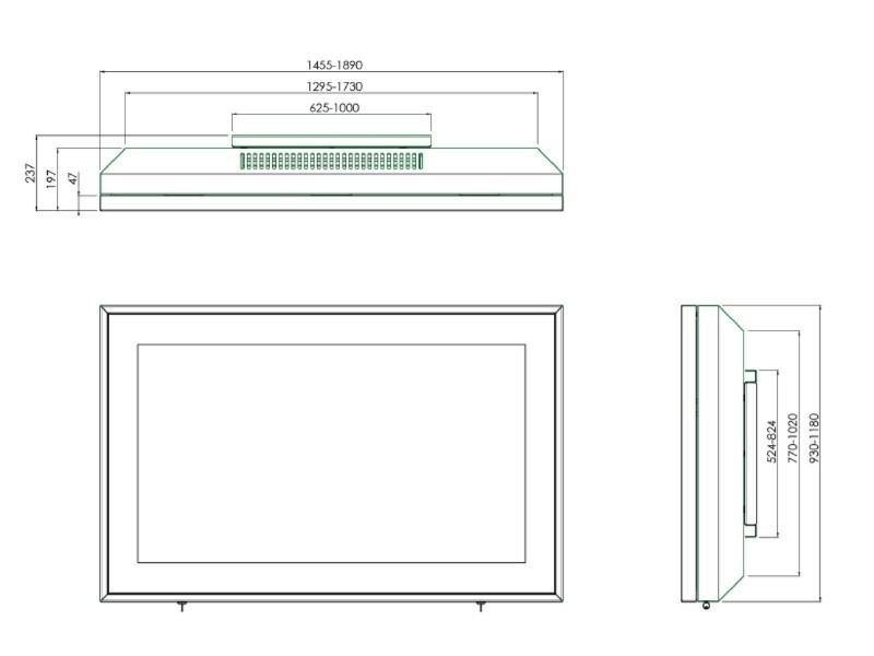smartmetals indoor geh use wandhalter display 65 zoll. Black Bedroom Furniture Sets. Home Design Ideas